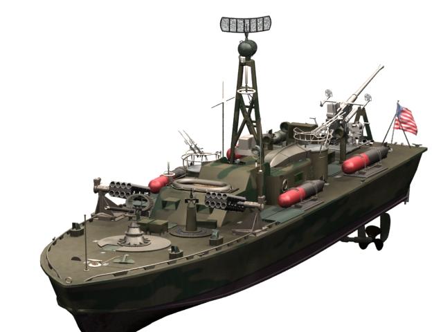 PT-328 US patrol torpedo boat 3d rendering
