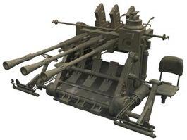 Type 96 anti-aircraft gun 3d model preview