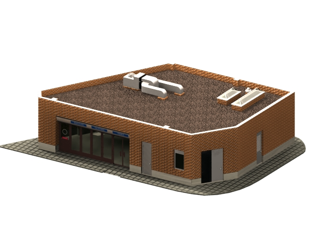 Store auxiliary building 3d rendering