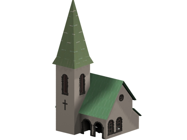 Small church architecture 3d rendering