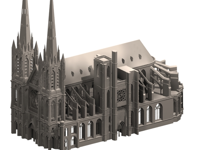 Clermont cathedral gothic architecture 3d rendering