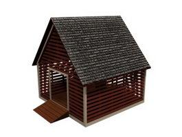 Corn crib granary storehouse 3d model preview