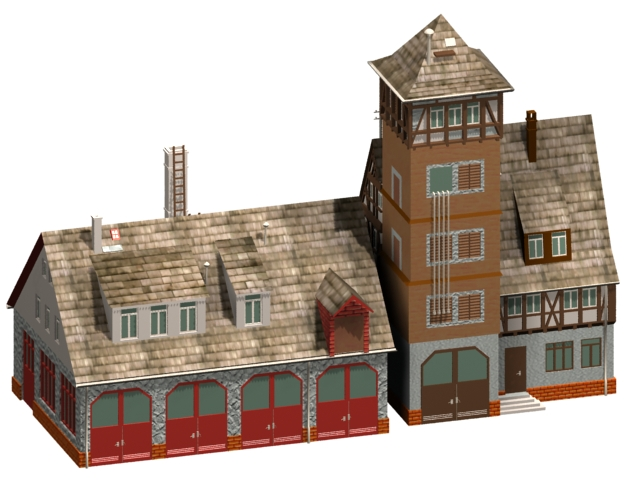 Fire station ancient building 3d rendering