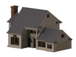 Modern residential house 3d model preview