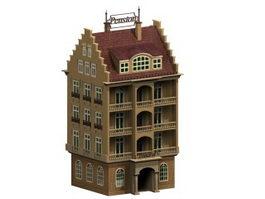Elderly apartment housing 3d model preview