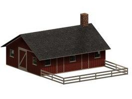 Piggery and poultry farm building 3d model preview