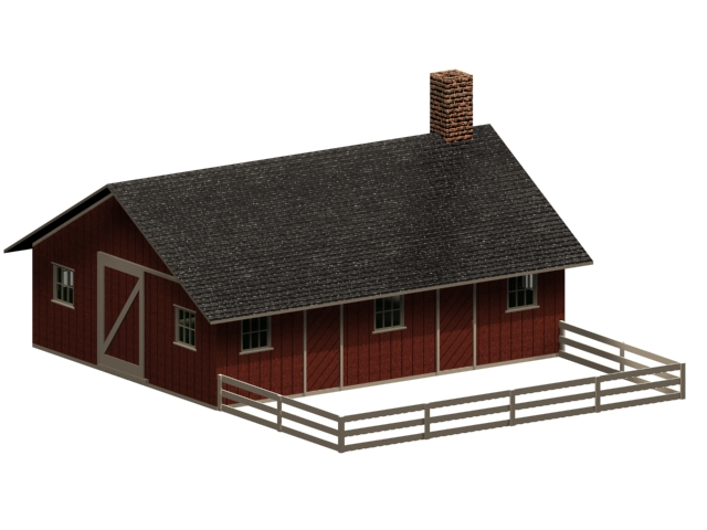 Piggery and poultry farm building 3d rendering