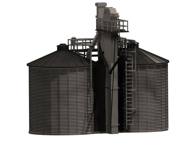 Twin storage silo 3d rendering