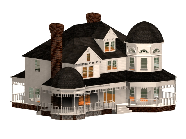 Victorian style residence 3d rendering