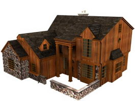 Traditional wooden townhouse 3d model preview