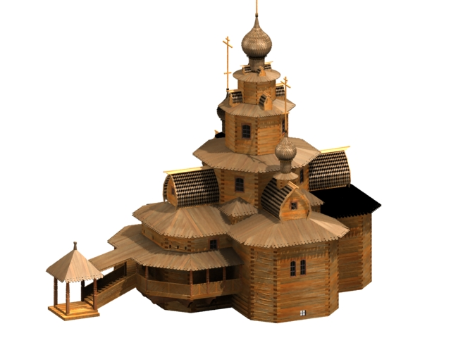 Ancient church architecture 3d rendering