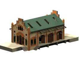 Traditional store buildings 3d model preview