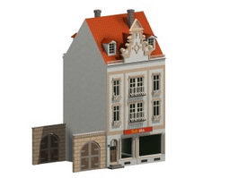 Semi-detached townhouse 3d model preview