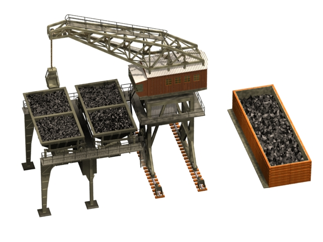 Large coaling station 3d rendering