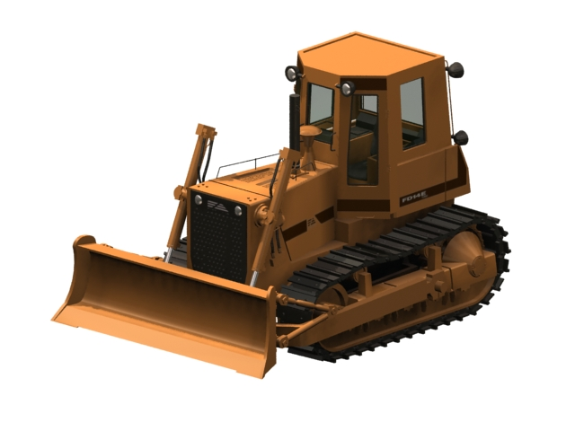 Crawler bulldozer 3d rendering