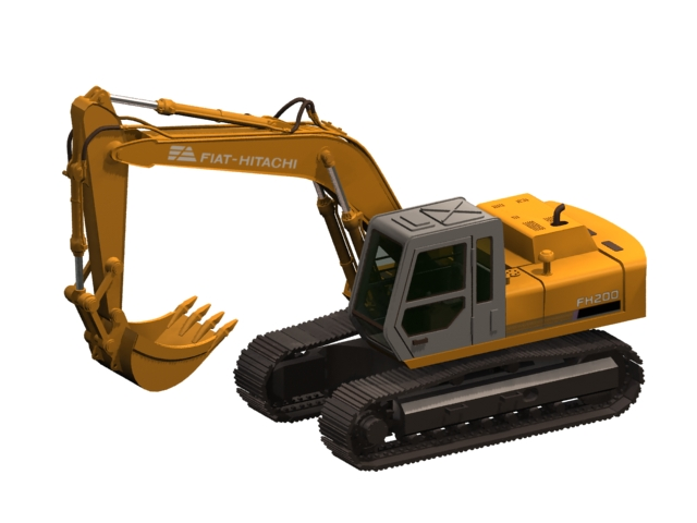 Hitachi excavator 3d rendering