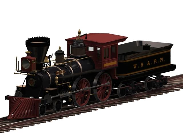 Steam railway locomotive 3d rendering