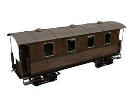 Old rail passenger car 3d preview