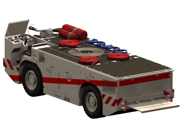 US aircraft carriers fire tractor 3d rendering