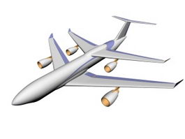 Wide-body airliner 3d model preview