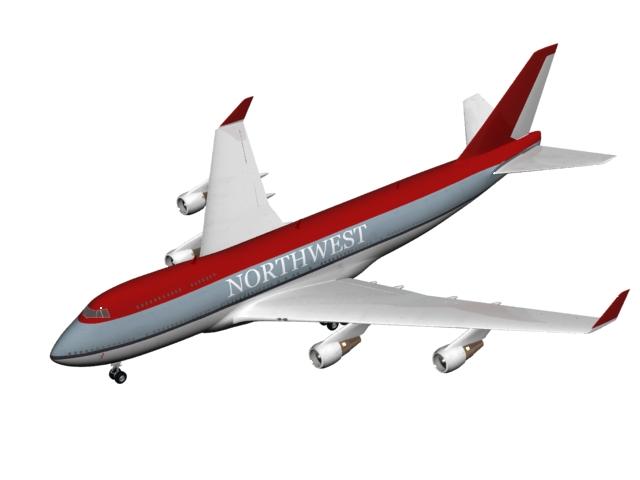 Northwest commercial airliner 3d rendering