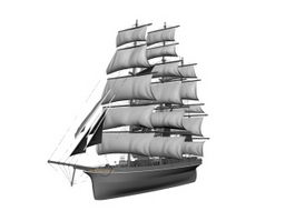 Sailing warship 3d model preview