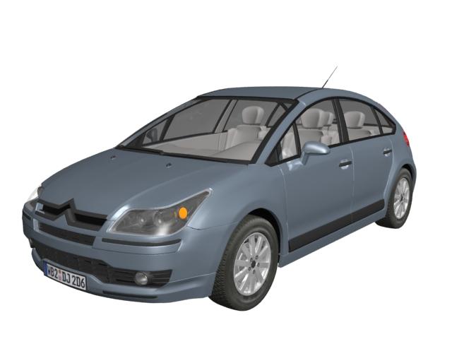 Citroen C4 small family car 3d rendering