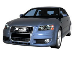 Audi A3 compact car 3d model preview