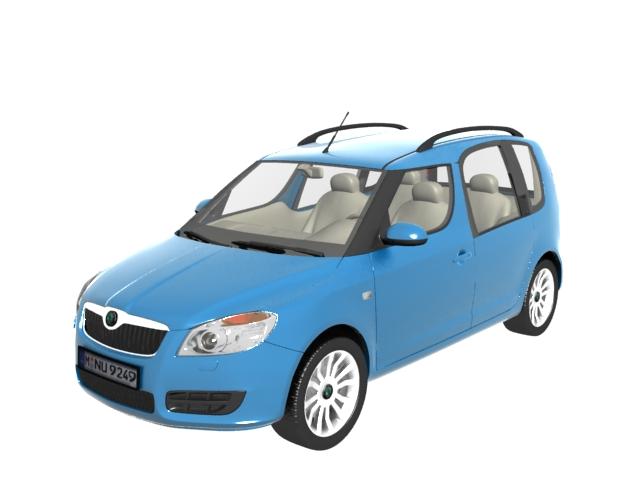 Skoda Roomster leisure activity vehicle 3d rendering