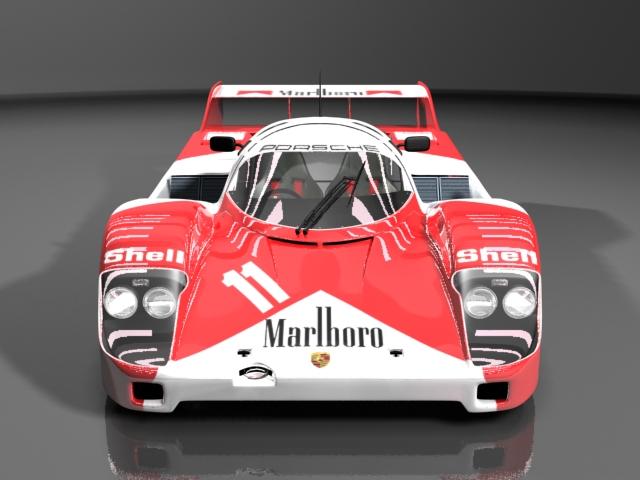 Porsche 956 prototype race car 3d rendering