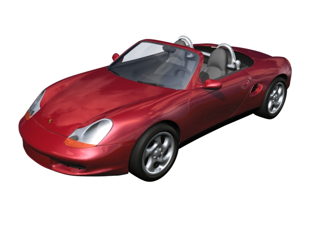 Porsche Boxster sports roadster 3d rendering