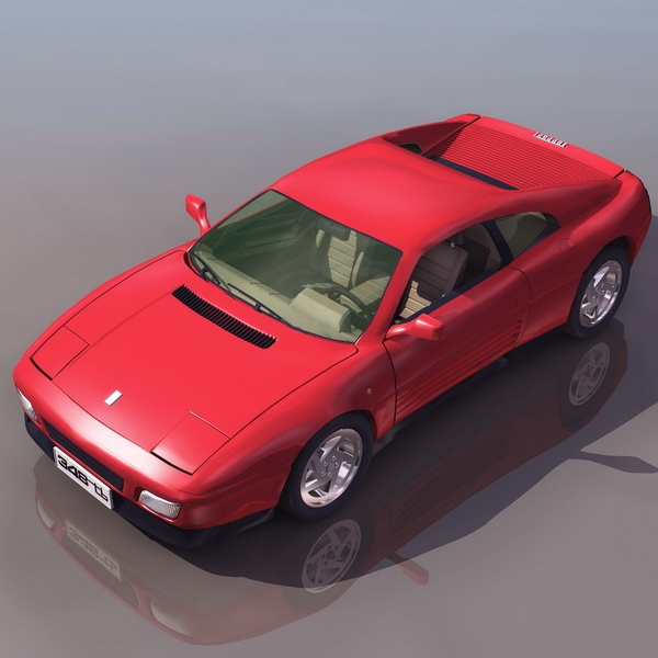 Ferrari 348 sports car 3d rendering