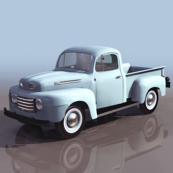 1950S Ford pickup truck 3d rendering
