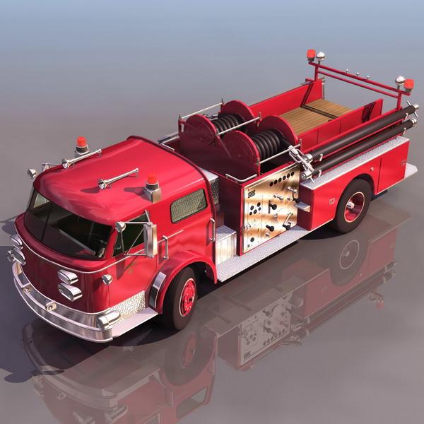 Early pumper truck 3d rendering