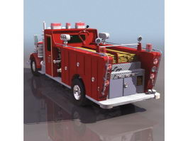Conventional pumper truck 3d model preview