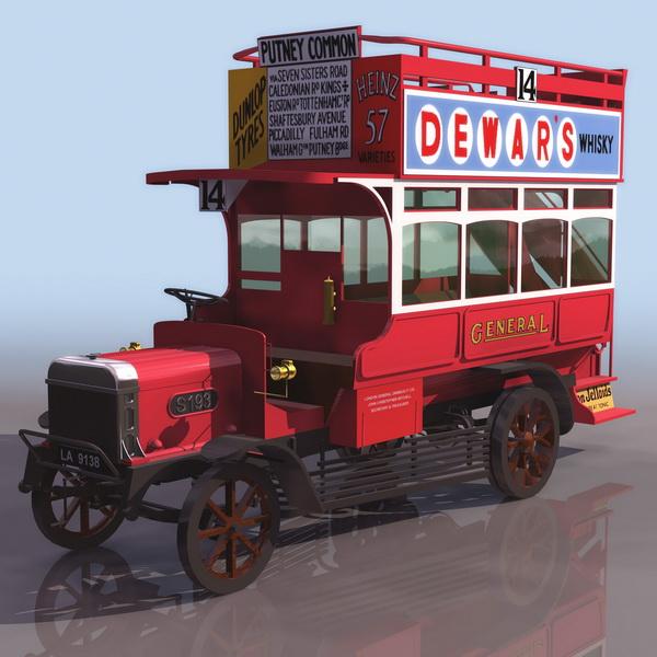 Early omnibus 3d rendering