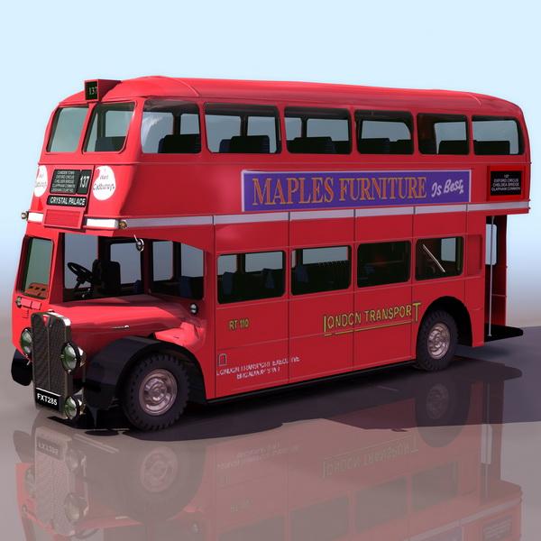 Early double-decker bus 3d rendering