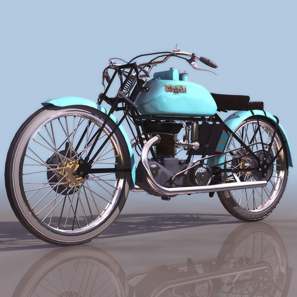 Italy Bianchi racing motorcycle 3d rendering