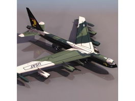 Boeing B52 strategic bomber aircraft 3D Model