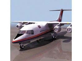 BAe 146 regional airliner 3d model preview