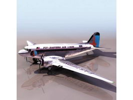 Douglas DC-3 airliner 3d model preview