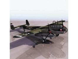 German Dornier Do17 fighter aircraft 3d model preview