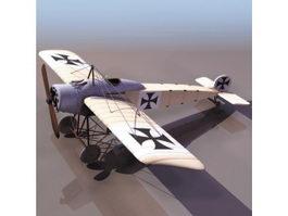 German Fokker Eindecker fighter 3d model preview