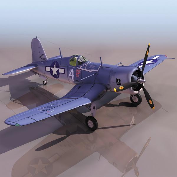 American F4U-1 Corsair Fighter Aircraft 3d Model 3DS Files