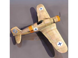 Fiat G.50 Freccia fighter aircraft 3d model preview