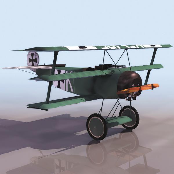 Fokker Dr.I fighter aircraft 3d rendering