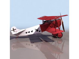 Fokker D.VII fighter aircraft 3d model preview
