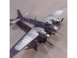Hs129 German ground-attack aircraft 3d model preview