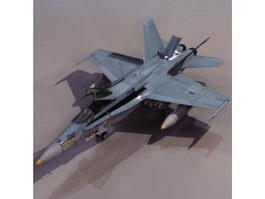 Hornet F/A-18 multirole fighter aircraft 3d model preview