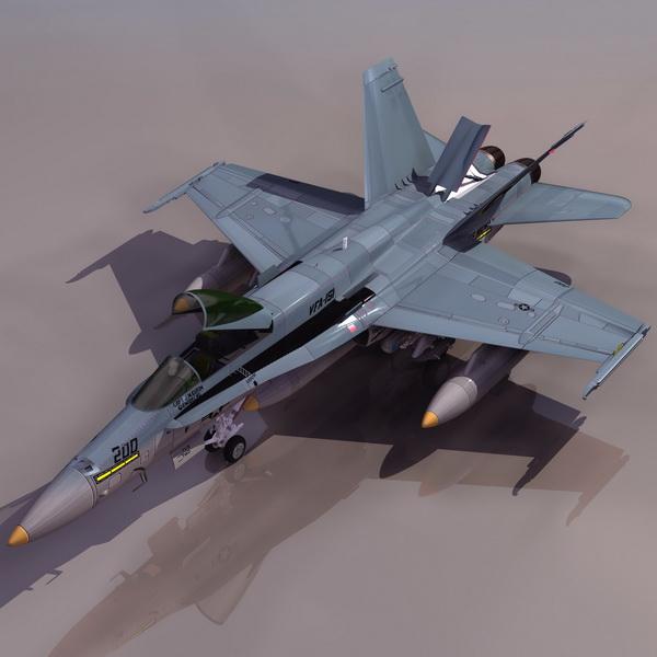 Hornet F/A-18 multirole fighter aircraft 3d rendering